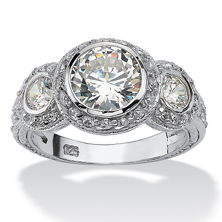 3.09 TCW White Round Cubic Zirconia Sterling Silver Anniversary Ring at Direct Charge presents PalmBeach