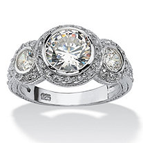 3.10 TCW Round Cubic Zirconia Sterling Silver Anniversary Ring
