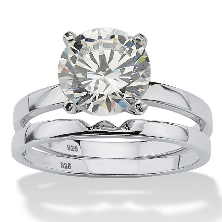3 TCW Round Cubic Zirconia Platinum over Sterling Silver Solitaire Bridal Engagement Set at PalmBeach Jewelry