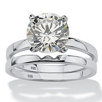 3 TCW Round Cubic Zirconia Platinum over Sterling Silver Solitaire Bridal Engagement Set