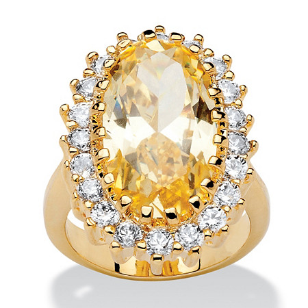 14.06 TCW Oval Cut Canary Yellow and White Cubic Zirconia 14k Gold-Plated Ring at PalmBeach Jewelry