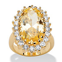 14.06 TCW Oval Cut Canary Yellow and White Cubic Zirconia 14k Gold-Plated Ring