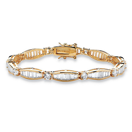 "7.50 TCW Round and Baguette Cubic Zirconia 14k Yellow Gold-Plated Tennis Bracelet 7 1/4"" at PalmBeach Jewelry"