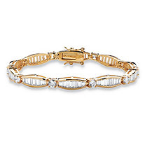 7.50 TCW Round and Baguette Cubic Zirconia 14k Yellow Gold-Plated Tennis Bracelet 7 1/4""