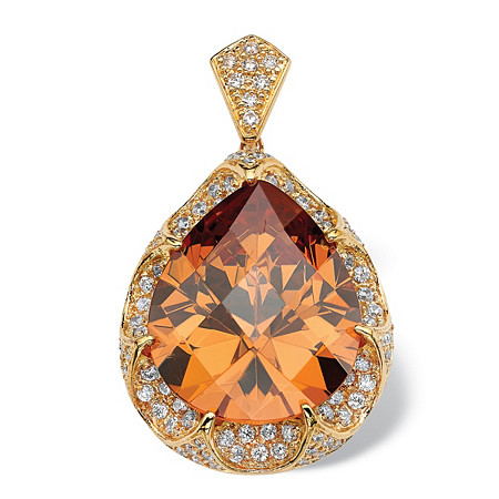 39.92 TCW Pear Cut Cubic Zirconia 14k Gold-Plated Pendant at PalmBeach Jewelry