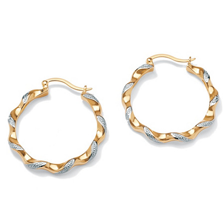 Diamond Accent Twisted Hoop Earrings 18k Yellow Gold-Plated (1 1/2