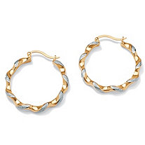 "Diamond Accent Twisted Hoop Earrings 18k Yellow Gold-Plated (1 1/2"")"
