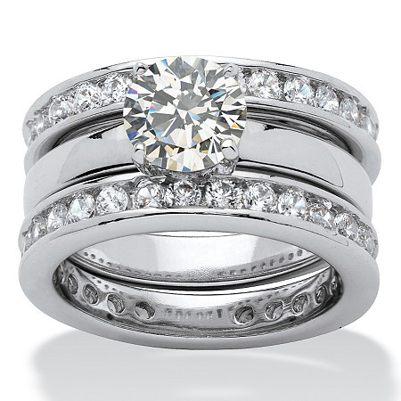3.28 TCW Round Cubic Zirconia Silvertone Bridal Engagement Ring Wedding Band Set at PalmBeach Jewelry