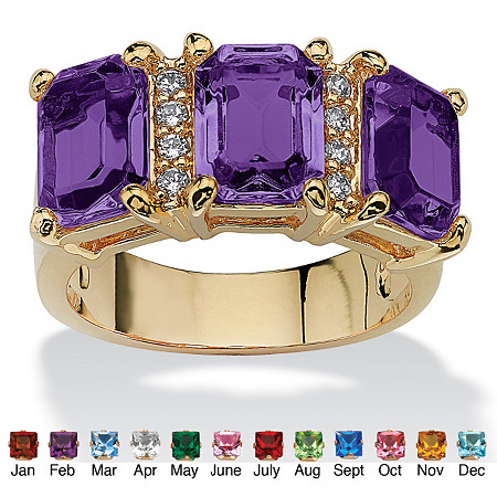 Emerald-Cut Simulated Birthstone and Cubic Zirconia 14k Gold-Plated Ring at PalmBeach Jewelry