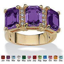Emerald-Cut Simulated Birthstone and Cubic Zirconia 14k Gold-Plated Ring