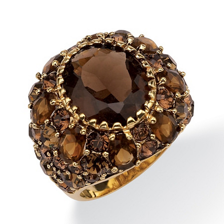 13.36 TCW Oval-Cut Genuine Smoky Quartz Smoky-Quartz-Color Crystal 14k Yellow Gold-Plated Ring at PalmBeach Jewelry