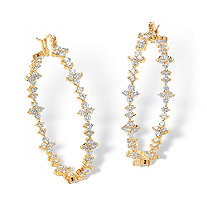"7.20 TCW Round Cubic Zirconia 14k Gold-Plated Garland Hoop Earrings (1 3/4"")"