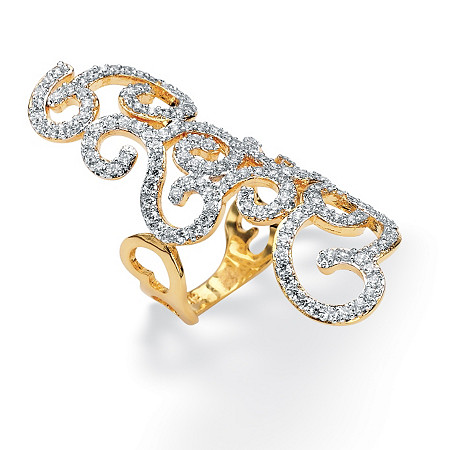 2.70 TCW Round Cubic Zirconia 14k Gold-Plated Elongated Swirl Ring at PalmBeach Jewelry