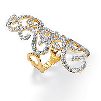 2.70 TCW Round Cubic Zirconia 14k Gold-Plated Elongated Swirl Ring