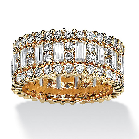 4.80 TCW Emerald-Cut Cubic Zirconia Gold-Plated Eternity Ring at PalmBeach Jewelry
