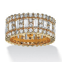 4.80 TCW Emerald-Cut Cubic Zirconia 14k Gold-Plated Eternity Ring