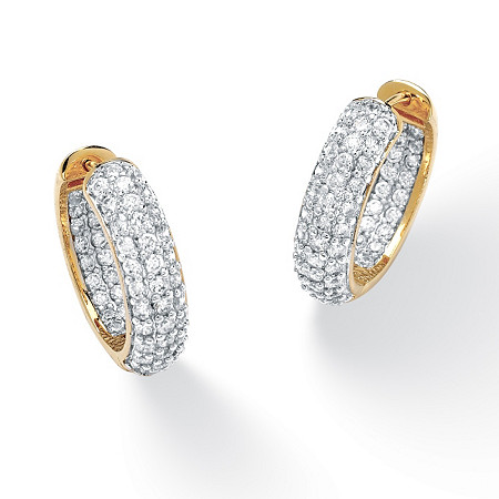 3.21 TCW Round Cubic Zirconia 14k Gold-Plated Huggie-Style Inside-Out Hoop Earrings at PalmBeach Jewelry