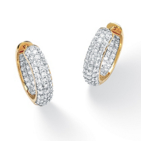 Round Cubic Zirconia 14k Gold-Plated Huggie-Style Inside-Out Hoop Earrings ONLY $32.99