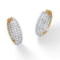 "3.21 TCW Round Cubic Zirconia 14k Gold-Plated Huggie-Style Inside-Out Hoop Earrings (1"")"
