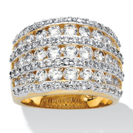 2.86 TCW Round Cubic Zirconia  14k Gold-Plated Multi-Row Dome Ring at PalmBeach Jewelry