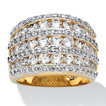 2.86 TCW Round Cubic Zirconia  14k Gold-Plated Multi-Row Dome Ring