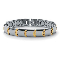 Men's Gold Ion-Plated Stainless Steel Magnetic Puzzle-Link Bracelet 8""