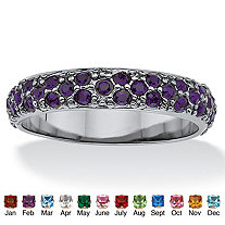 Round Birthstone Black Rhodium-Plated Eternity Band