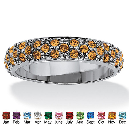 Round Birthstone Black Rhodium-Plated Eternity Band at PalmBeach Jewelry
