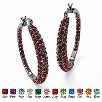 "Birthstone Black Rhodium-Plated Inside-Out Hoop Earrings (1 1/2"")"