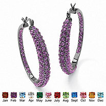 "Round Birthstone Inside-Out Hoop Earrings Black Rhodium-Plated (1.5"")"