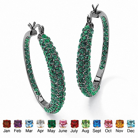 Birthstone Black Rhodium-Plated Inside-Out Hoop Earrings at PalmBeach Jewelry