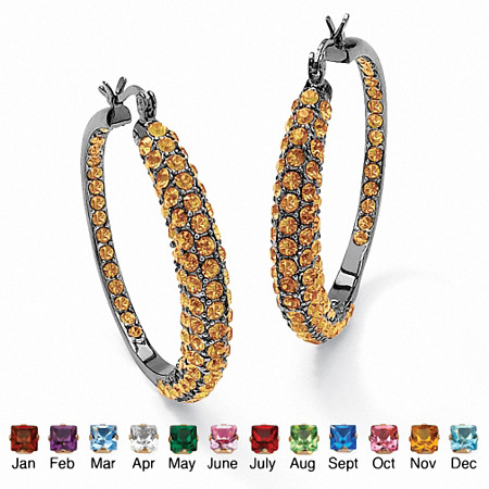 "Birthstone Black Rhodium-Plated Inside-Out Hoop Earrings  (1 1/2"") at PalmBeach Jewelry"