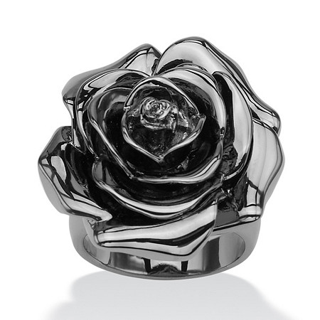 Black Rhodium-Plated Rose-Shaped Electroform Flower Ring at PalmBeach Jewelry