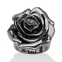 SETA JEWELRY Black Rhodium-Plated Rose-Shaped Electroform Flower Ring