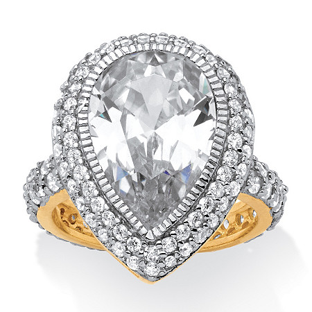 7.51 TCW Pear Cut Cubic Zirconia 18k Gold over Sterling Silver Ring at PalmBeach Jewelry