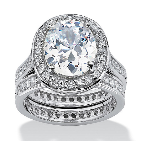 6.47 TCW Oval-Cut Cubic Zirconia Two-Piece Halo Bridal Set in Platinum over Sterling Silver at PalmBeach Jewelry