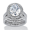 Related Item 6.47 TCW Oval-Cut Cubic Zirconia Two-Piece Halo Bridal Set in Platinum over Sterling Silver