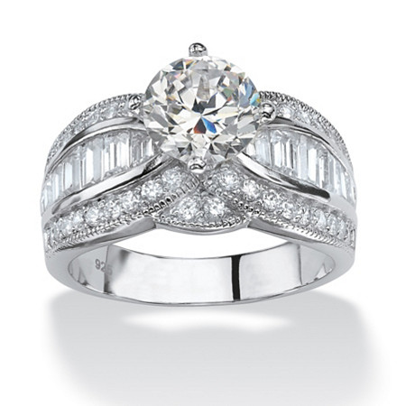 3.84 TCW Round Cubic Zirconia Platinum over Sterling Silver Engagement Anniversary Ring at PalmBeach Jewelry