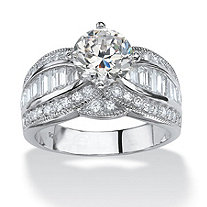 3.84 TCW Round Cubic Zirconia Platinum over Sterling Silver Engagement Anniversary Ring