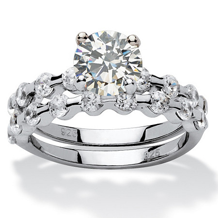 2.52 TCW Round Cubic Zirconia Platinum over Sterling Silver Bridal Engagement Set Ring at PalmBeach Jewelry