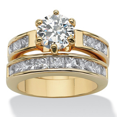 4.40 TCW Round Cubic Zirconia Two-Piece Bridal Set Gold-Plated at PalmBeach Jewelry