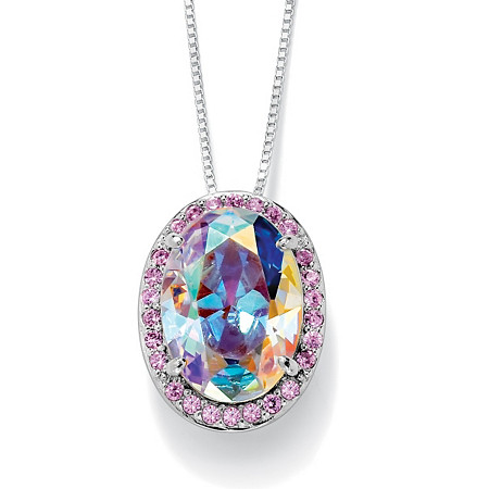 13.41 TCW Oval-Cut Aurora Borealis Cubic Zirconia Halo Pendant Necklace in Silvertone at PalmBeach Jewelry