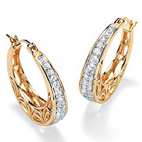 .92 TCW Round Cubic Zirconia 14k Gold-Plated Filigree Hoop Earrings