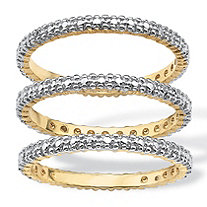 Diamond Accent 18k Yellow Gold-Plated 3-Piece Stack Ring Eternity Band Set