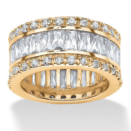 9.34 TCW Round and Emerald-Cut Cubic Zirconia 14k Gold-Plated Eternity Band at PalmBeach Jewelry