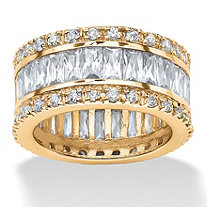 9.34 TCW Round and Emerald-Cut Cubic Zirconia 18k Gold-Plated Eternity Band