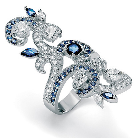 Simulated Blue Sapphire and Cubic Zirconia Elongated Vine Ring 3.81 TCW in Silvertone at PalmBeach Jewelry