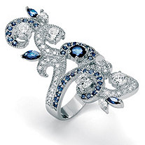 Simulated Blue Sapphire and Cubic Zirconia Elongated Vine Ring 3.81 TCW in Silvertone