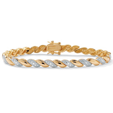 1/10 TCW Diamond Accent Wave-Link Bracelet 18k Gold-Plated 7.25