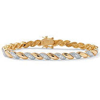 1/10 TCW Diamond Accent Wave-Link Bracelet 18k Gold-Plated 7.25""